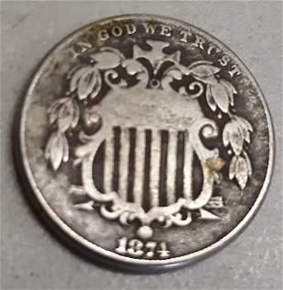 shield nickel US coin 1874 fine VF?