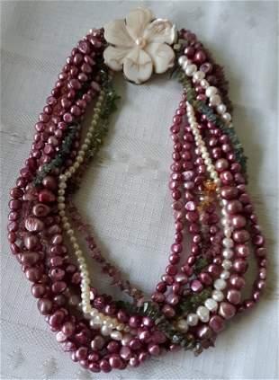 "Sterling & pearl designer Necklace w/jade too 16 1/2"""