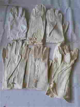 vintage ladies gloves lot of 6 pairs leather too!