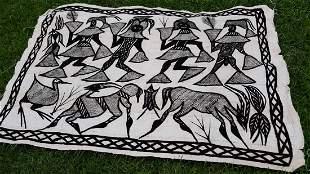 "Textile Senufo Korhogo mud cloth wall hanging 51"" x 77"""