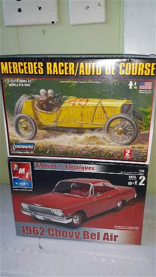 Chevy bel air 62 & mercedes racer models ertl lindberg