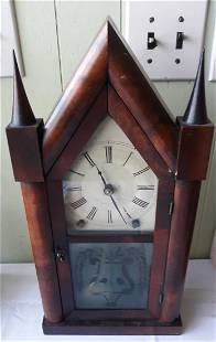 Clock rare 1845 Bruster & Ingraham steeple Works!