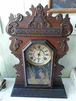 antique EN Welch Parlor Clock Walnut Works!