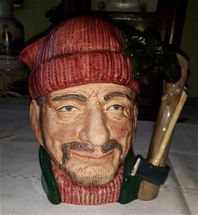 "royal doulton toby jug lumberjack 1966 7 1/2"""