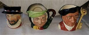 royal Doulton lot of 3 toby mugs beefeater,++