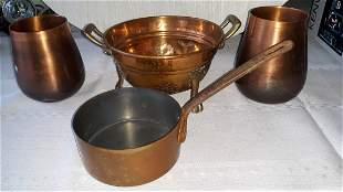 vintage Copper lot of 4 Strainer, pot ++