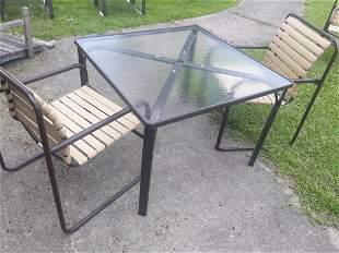 brown jordan patio furniture table & 2 chairs vinyl sli