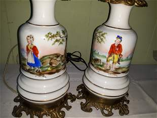 baccarat attributed hand painted Victorian lamp Pair!