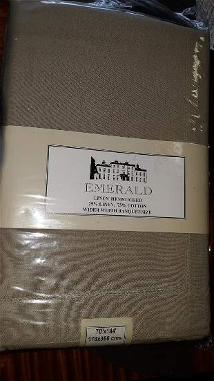 """Linen Hemstitched 70"""" X 144"""" Table cloth NEW!"""