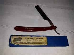antique morris red imp wedge straight razor w/box