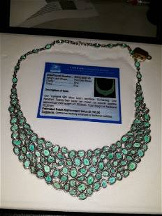 """Necklace apatite 150 carats set in sterling 17"""" w/appra"""