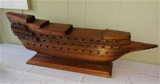 antique Wood Hand Made Pirate ship? Asian?
