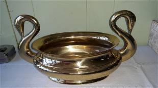 Brass heavy Swan planter