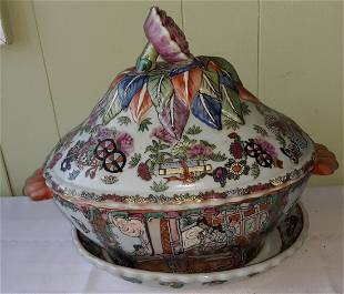 vintage Chinese rose medallion tureen w/ under plate