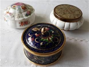 Dresser Jars lot of 3 vintage cloisonné & porcelain