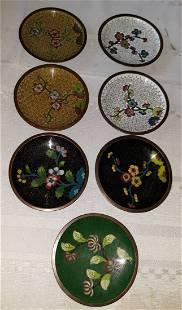 cloisonné vintage plates, coaster lot 0f 7 great color!