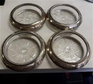 frank whiting sterling coaster set of 4 nice condition!