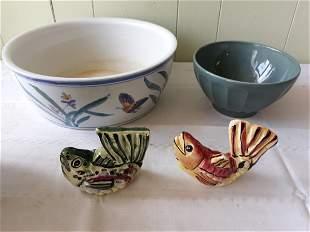 salt & pepper shakers fish, large bowl, bowl estate lot