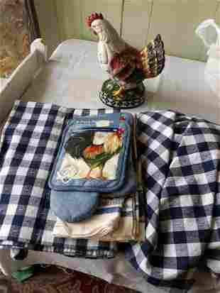 Rooster ceramic ,towels, tablecloths estate lot