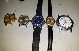 Timex Watch Lot Of 5 Indiglo Too! Parts Repair vintage