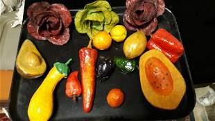 Folk Art vintage Paper Mache Fruit Vegetables
