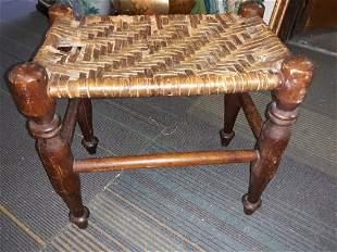 footstool split oak antique