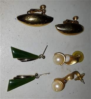 Earrings art deco pearls, Napier too! lot of 3