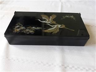 mid century black bakelite? chinese jewelry box
