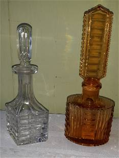 """estate lot of perfume bottles amber & clear 7"""" beauty!"""