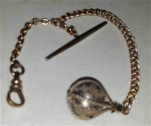 antique pocket watch chain gold filled rare orb!