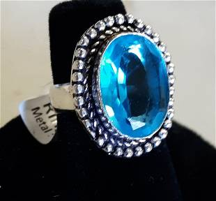 blue topaz and german silver? ring sz 6