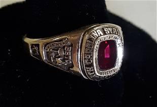 NCSU Wolfpack 14K & ruby ring sz 9