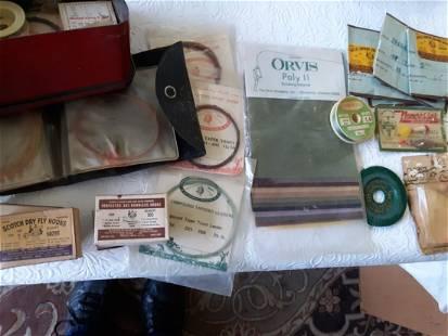 antique dovetail fishing box full flys,leaders, etc...