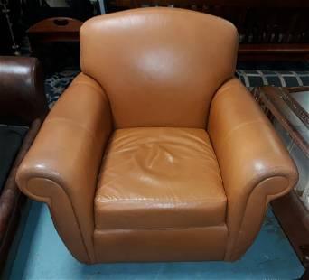 Henredon leather club chair glider swivel