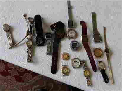 vintage watch lot lot of 19 geneva,timex,gucci++