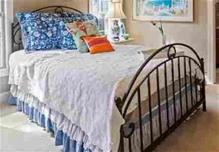 solid wrought Iron Queen Bed Verdigris