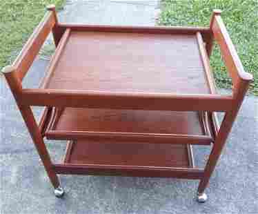 danish mid century teak serving cart Gorgeous!