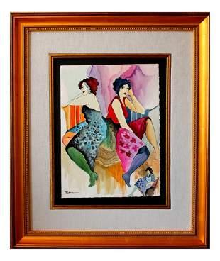 Patricia Govezensky Original Watercolor Looking Back in