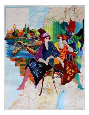 Patricia Govezensky Original Acrylic Painting Map
