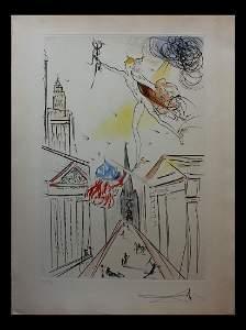 Salvador Dali View of Wall Street Original Intaglio