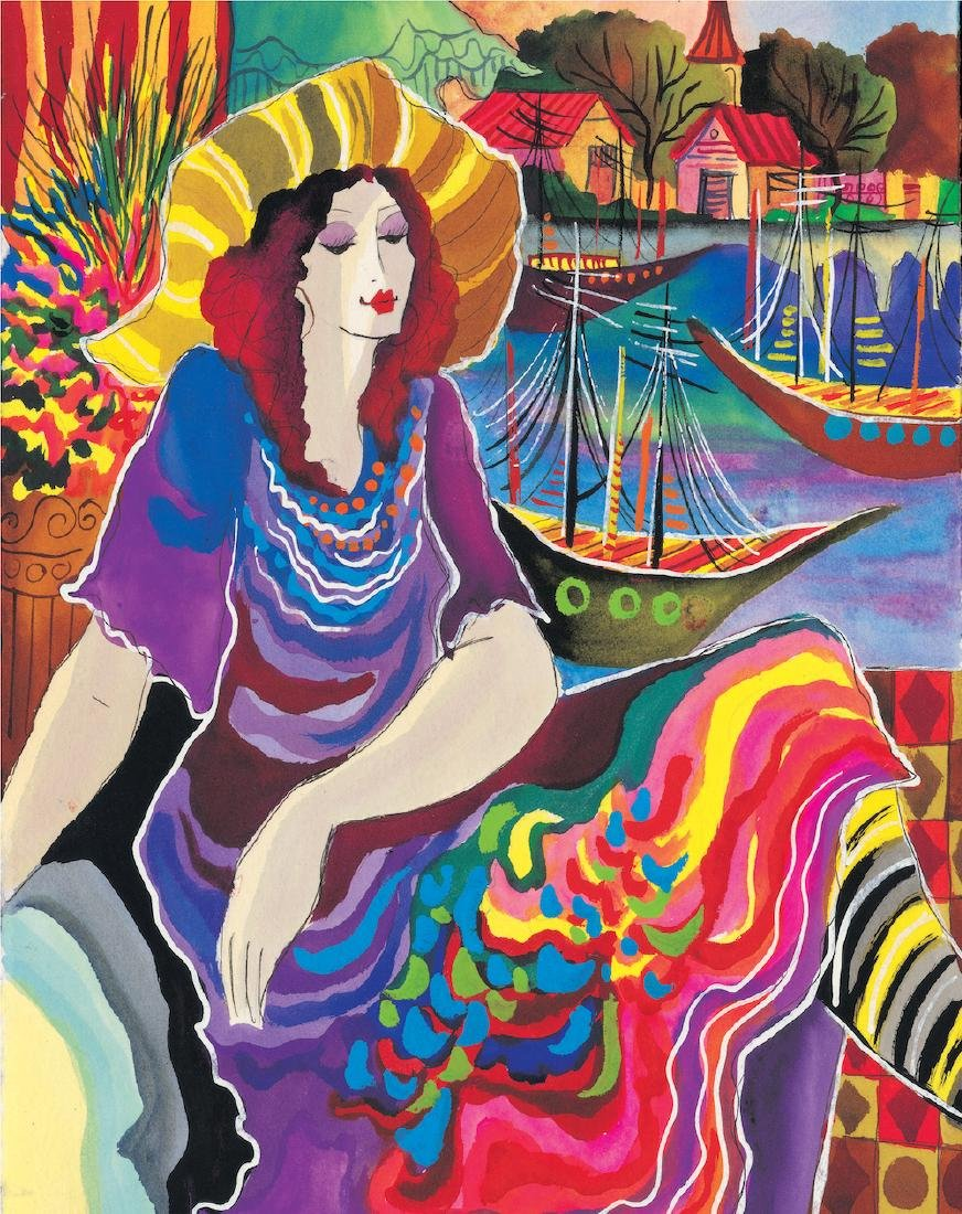 Patricia Govezensky LADY BY THE BAYSIDE Hand Signed