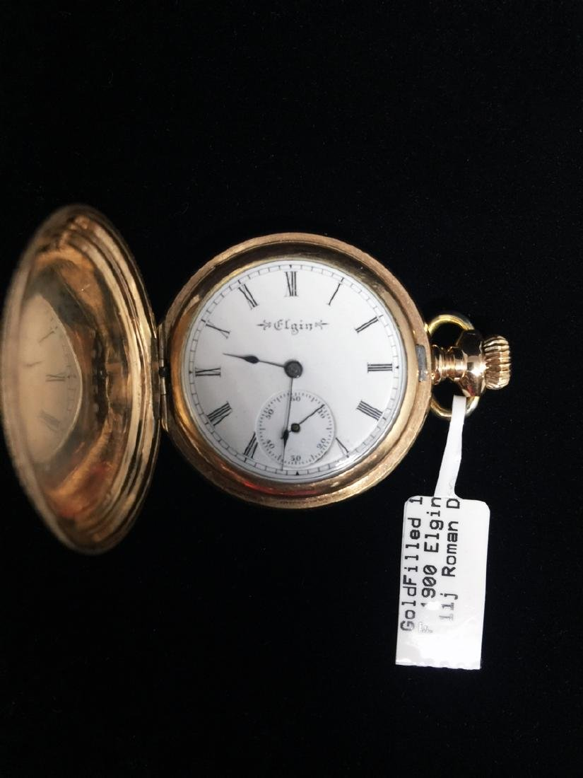 14KGF 1900 Elgin 0s 11j Roman Dial Pocket Watch
