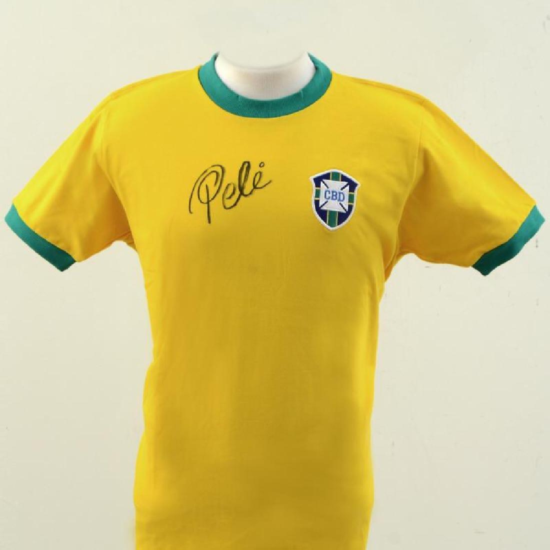 """Pele """"Autographed Soccer Jersey (Pele - Brazil)"""""""