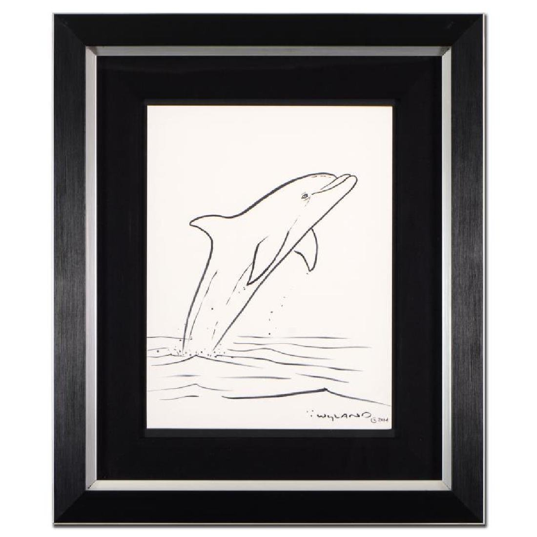 "Wyland ""Dolphin"" Framed Original Sketch, Hand Signed"