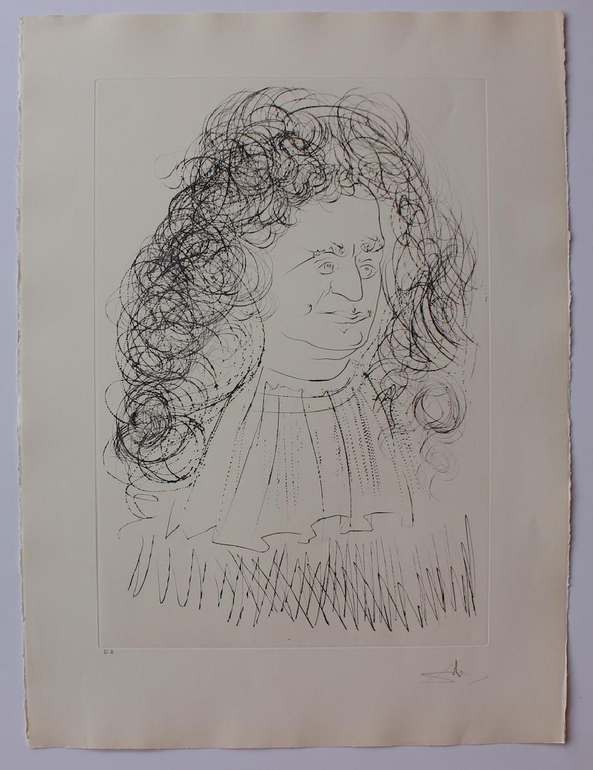 """Salvador Dali """"Le Portrait de La Fontaine"""" Original"""