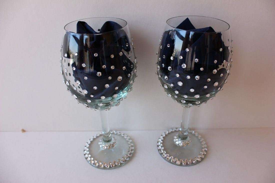 Wine glasses with Genuine Swarovski Crystals | Set of