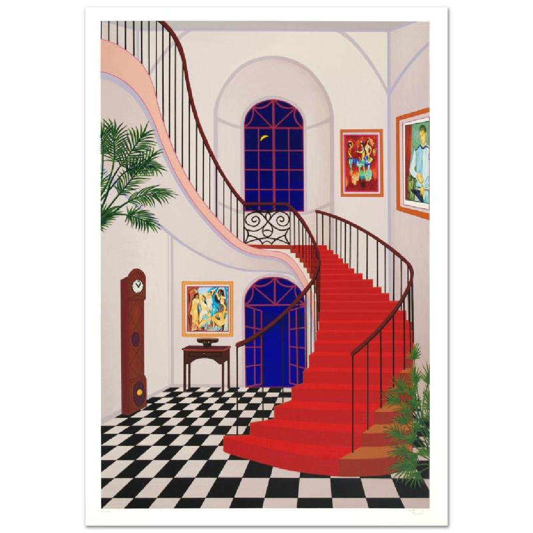 "Ledan, Fanch ""Interior With Red Staircase"" Serigraph"