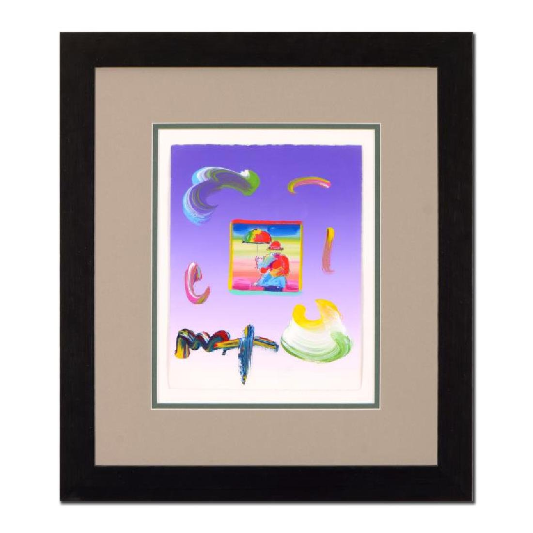 "Peter Max ""Umbrella Man"" Framed One-Of-A-Kind Acrylic"