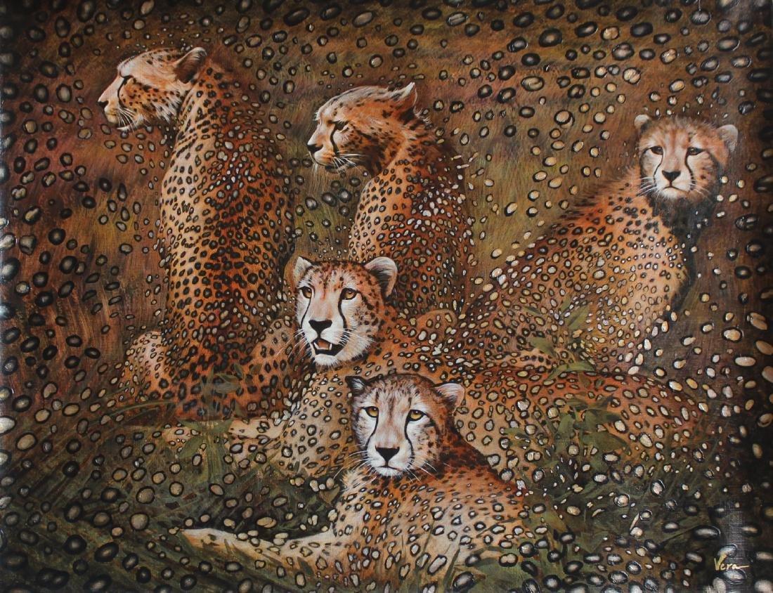 "Vera V. Goncharenko ""Leopards"" Original Oil on Canvas"
