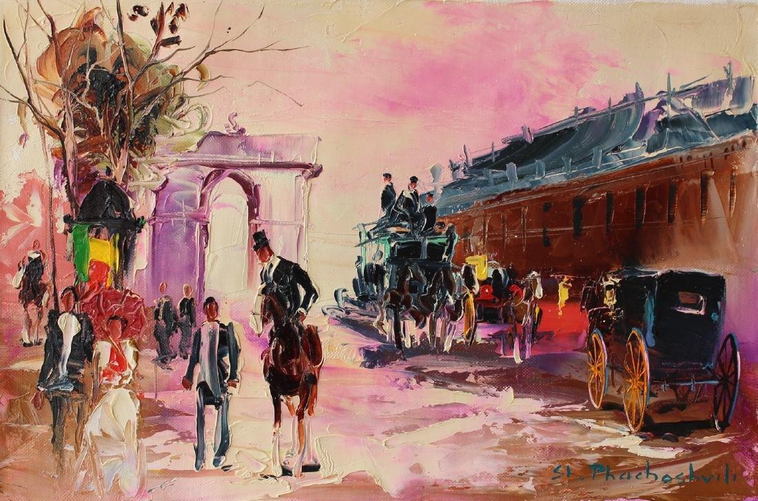 Shalva Phachoshvili- Train Station | Original oil on